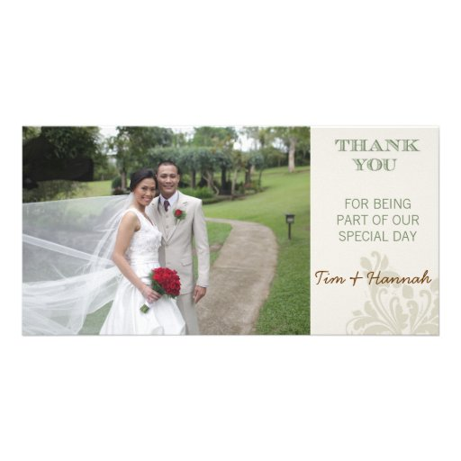 Carte photo fait sur commande de Merci de mariage Cartes Avec Photo