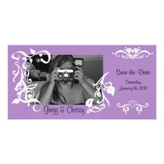 Carte photo floral pourpre photocarte personnalisée