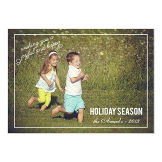 Carte photo joyeux et heureux de vacances de la cartons d'invitation personnalisés