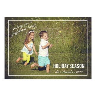 Carte photo joyeux et heureux de vacances de la sa cartons d'invitation personnalisés