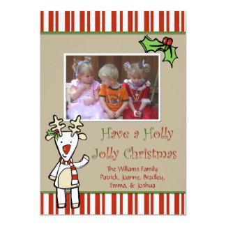 Carte photo mignon de Noël de renne de bande Carton D'invitation 12,7 Cm X 17,78 Cm