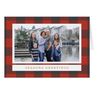 Carte photo rouge de vacances de plaid