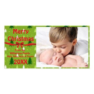 Carte photo vert d'arbres de Noël Photocartes Personnalisées