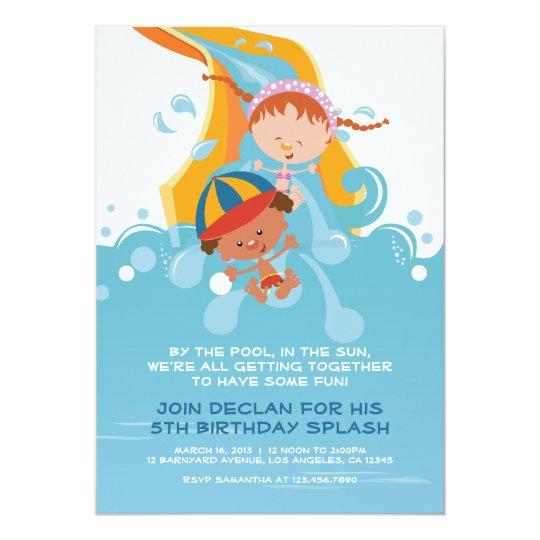 Haut Carte Piscine d'été/invitation de fête d'anniversaire de   Zazzle.ca NF77