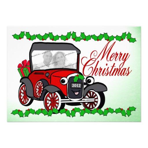 Carte plate de Noël démodé de voiture ancienne Invitations
