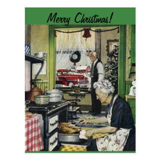 Carte postale à la maison vintage démodée de Noël