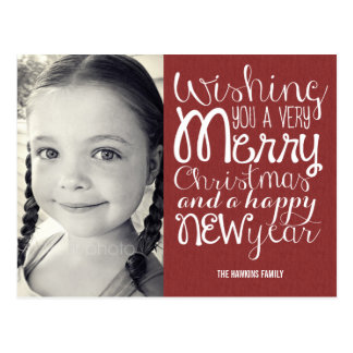 Carte postale adorable de carte photo de Noël de
