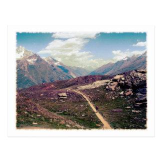 Carte postale alpine de vue de style vintage