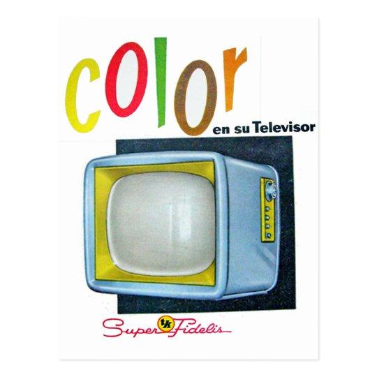 Carte Postale Annonce des années 60 de la couleur TV de kitsch