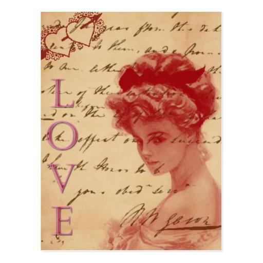 Carte postale antique de lettre d'amour