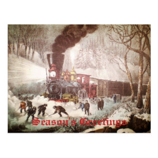 Carte postale attachée de Noël de train de neige