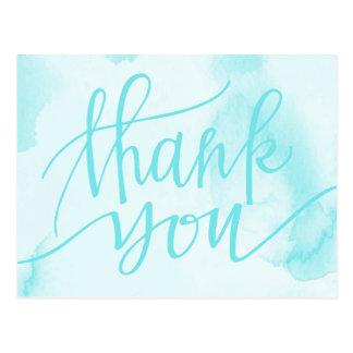 Carte postale bleue abstraite de Merci de
