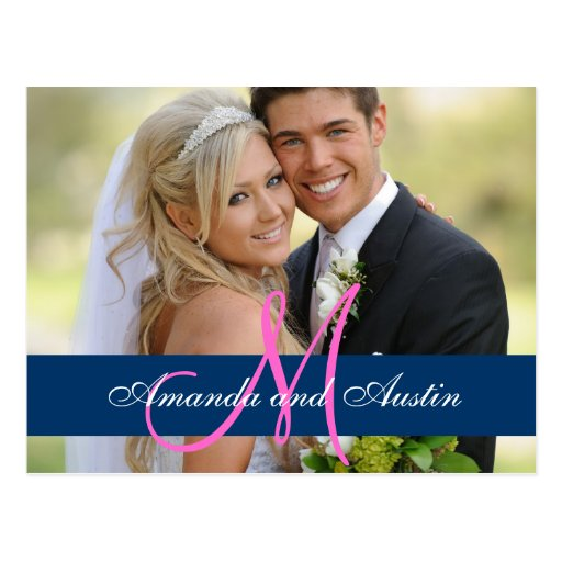 Carte postale bleue de Merci de photo de mariage d