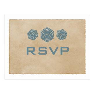 Carte postale bleue du Gamer RSVP de matrices de l