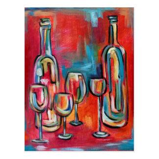 Carte Postale Bouteilles et verres de vin modernes abstraites