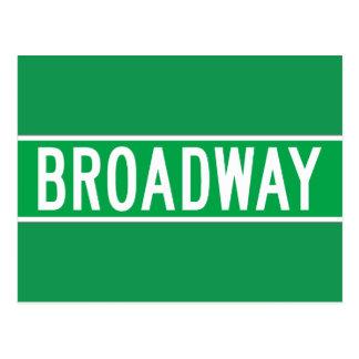 Carte Postale Broadway, plaque de rue de New York