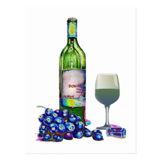 Carte Postale Cadeaux modernes d'art de vin et de raisins