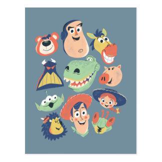 Carte Postale Caractères de Toy Story peints par cru