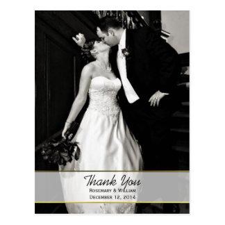 Carte postale chic de Merci de photo de mariage