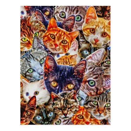 Carte Postale Collage de chat de Kitty | Zazzle.ca