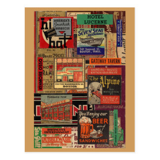 Carte Postale Collage de couverture de pochette d'allumettes de