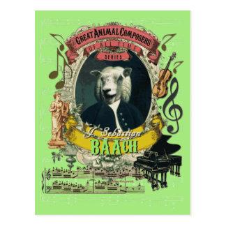Carte Postale Compositeur animal Bach de moutons drôles de Baach