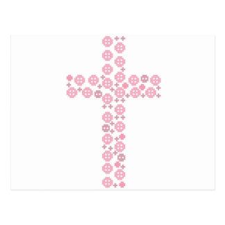 Carte Postale Croix rose de bouton
