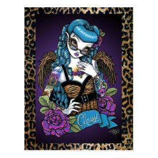 Carte postale d'ange de léopard de tatouage de