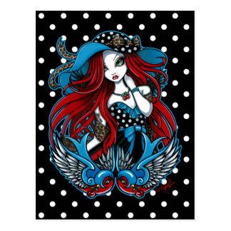 Carte postale d'ange de tatouage d'hirondelle de r