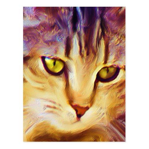 Carte postale d'art de chat tigré