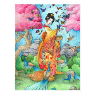 Carte postale d'art de paon de papillon de geisha