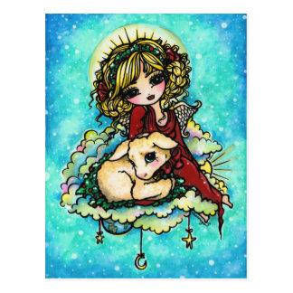 Carte postale d'art d'imaginaire de neige d'agneau