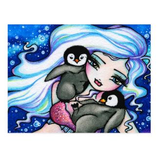 Carte postale d'art d'imaginaire de sirène de ping