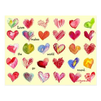 Carte postale de 30 coeurs de Valentine