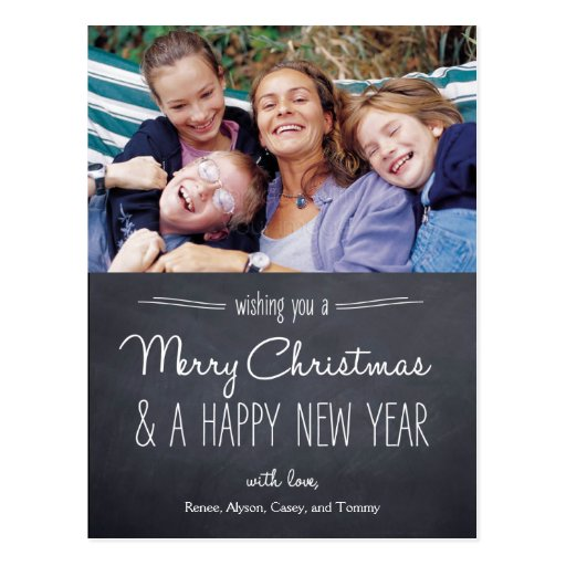 Carte postale de carte photo de Noël de regard de