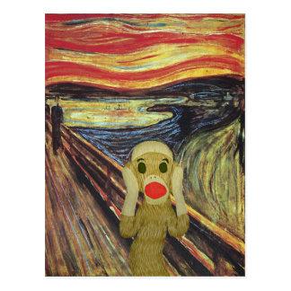 Carte postale de cri perçant de singe de chaussett