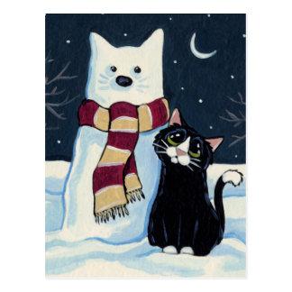 Carte postale de fête de chat et de chat de neige