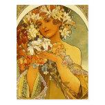 Carte postale de fleur de Nouveau Alphonse Mucha d