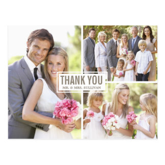 Carte postale de Merci de mariage de collage de