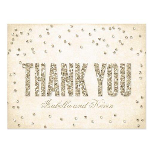Carte postale de Merci de mariage de confettis de
