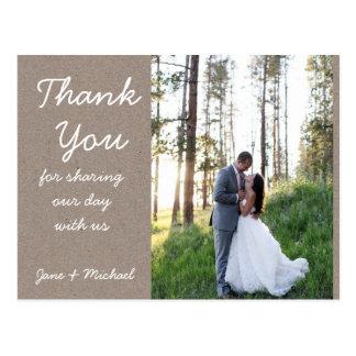 Carte postale de Merci de mariage de Papier d'emba