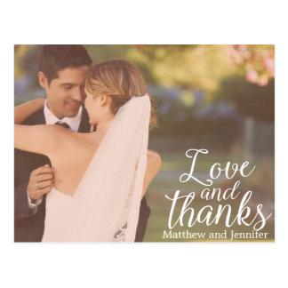 Carte postale de Merci de mariage de photo d'amour