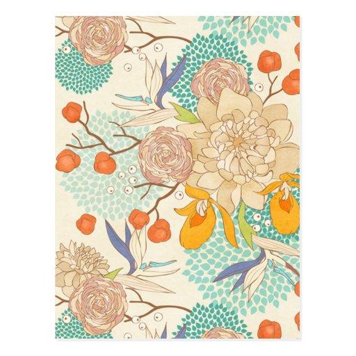 Carte postale de motif de fleur de pivoine