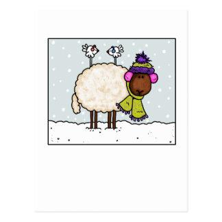 carte postale de moutons d'hiver