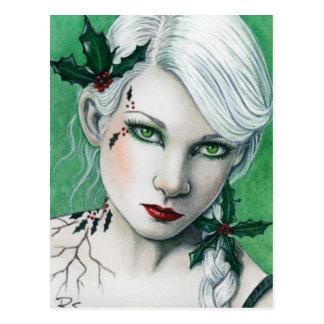 Carte postale de Noël de houx