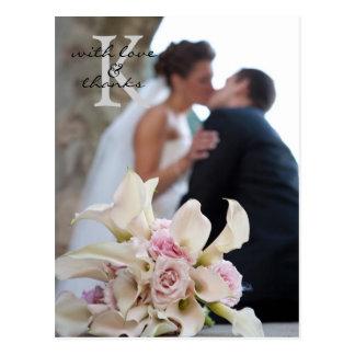 Carte postale de note de Merci de mariage