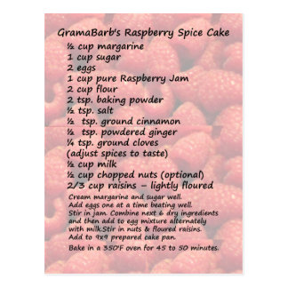 Carte postale de recette de gâteau d'épice de