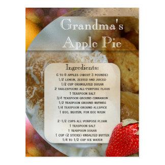 Carte postale de recette de tarte aux pommes ou de