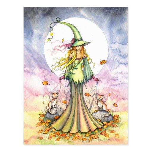 Carte postale de sorcière d'automne de serre-livre