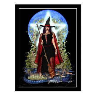 Carte postale de sorcière - sorcière de lune bleue